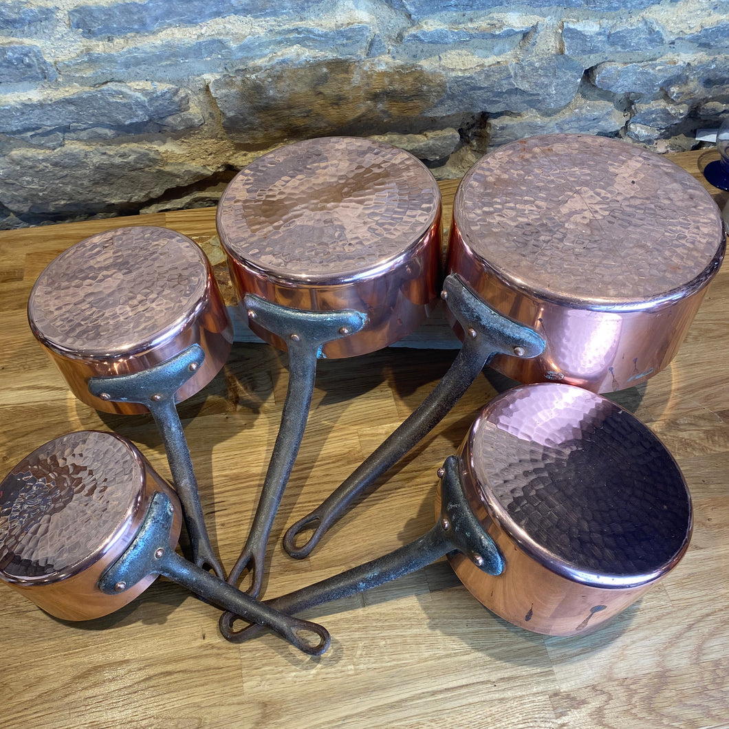 French antique stamped copper pans set of 5 pans gauge set with hammered bottom