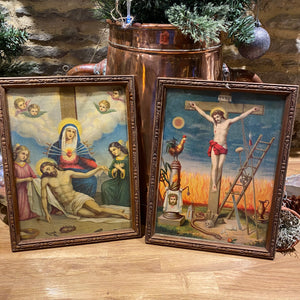 Pair of French religious prints in vintage frame with glass
