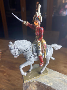 French Starlux lead horse and rider figurine