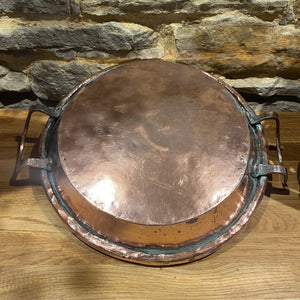 Beautiful French antique copper double handle dish
