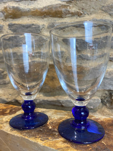French blue base glasses set of 2