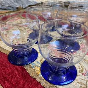 Set of 6 French blue glasses