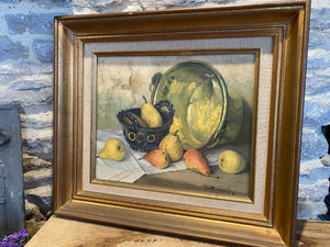 French painting on board still life scene signed