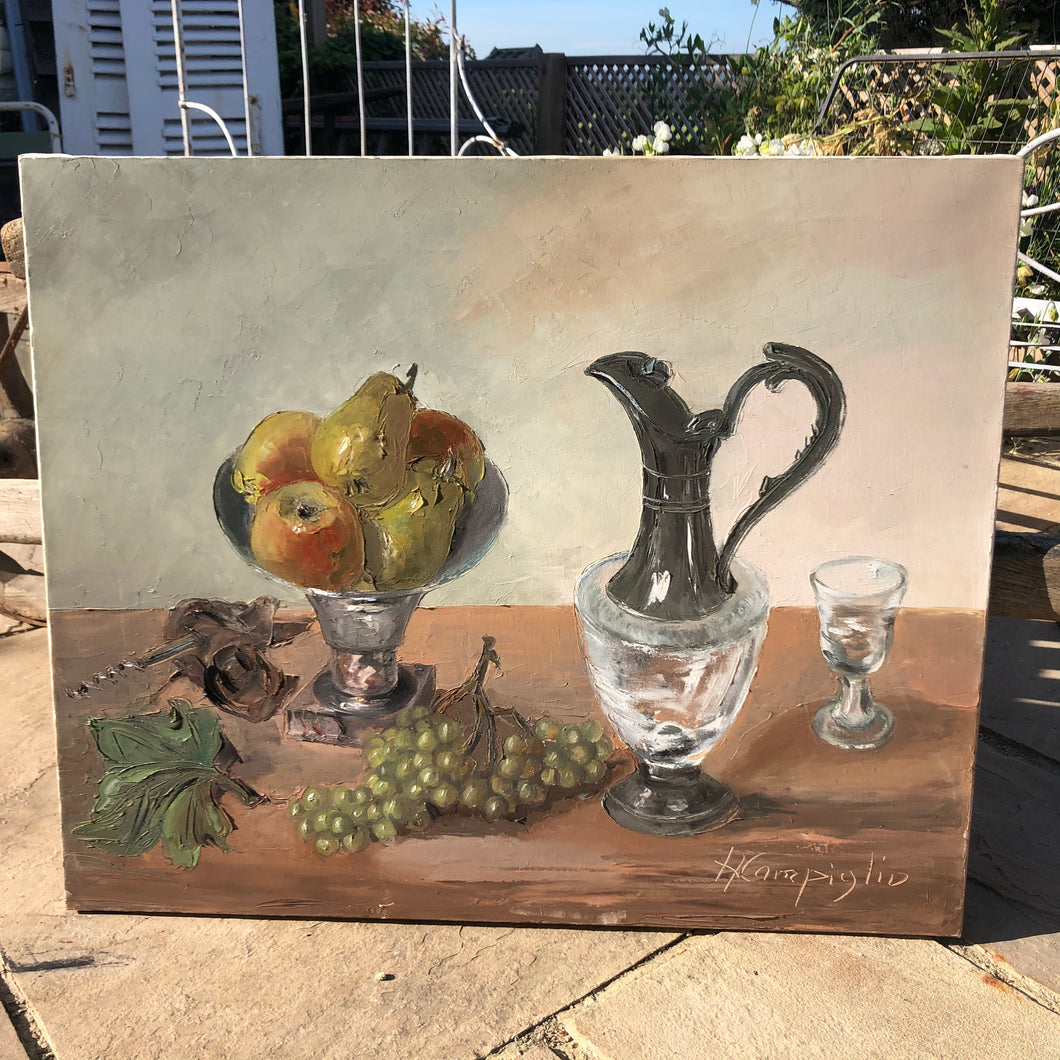 French oil on canvas still life signed