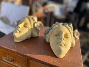 French stoneware decorative heads