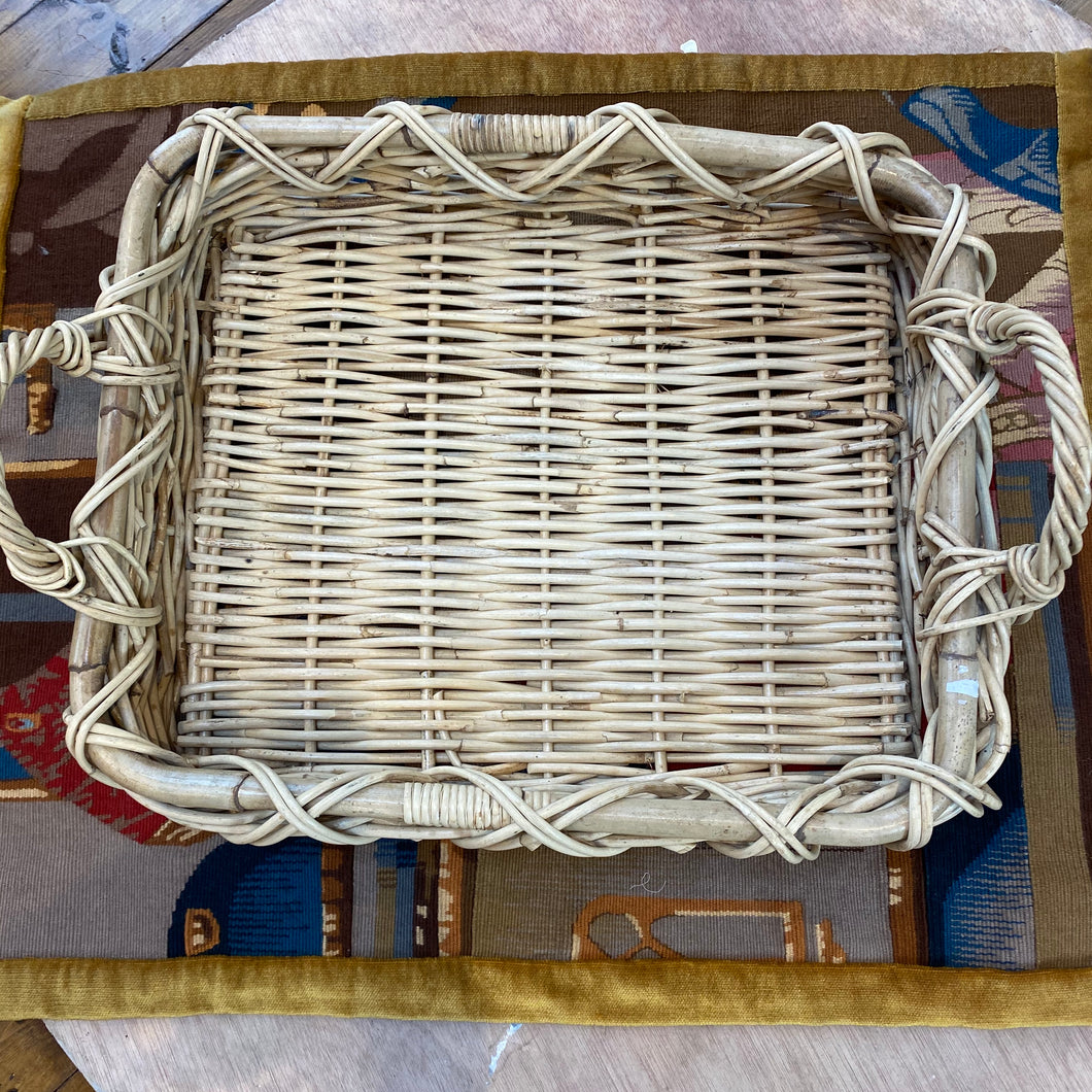 French shallow wicker/faux basket double handle
