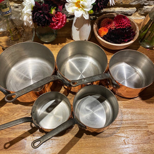 French antique copper pans set of 5 heavy gauge