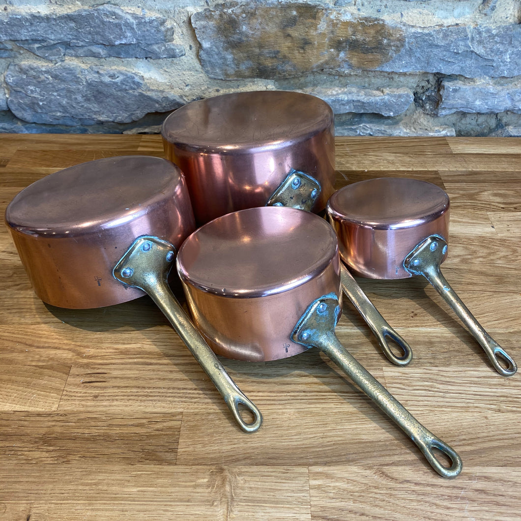 French antique copper pans set of 4 tin lined