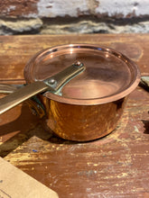 Load image into Gallery viewer, Copper (French) stamped small pan with lid and tin lining