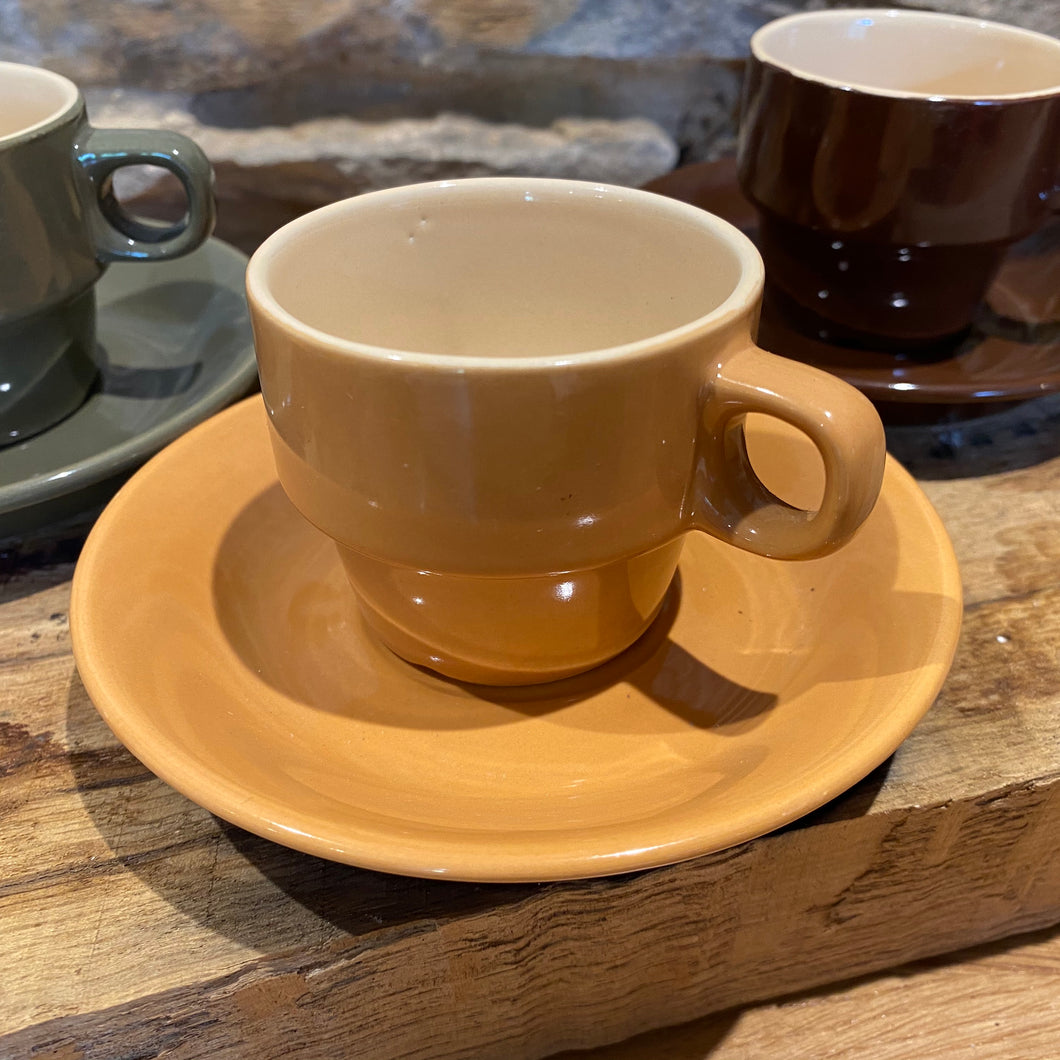 Set of 4 small French coffee cups and saucers