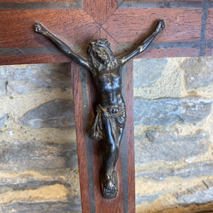 Vintage French brass Jesus in wood crucifix