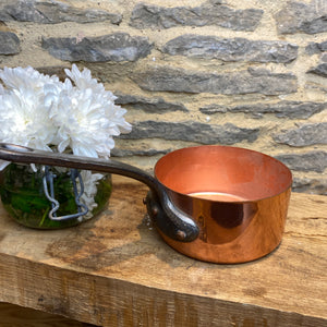 French vintage copper decorative pan with hammered bottom