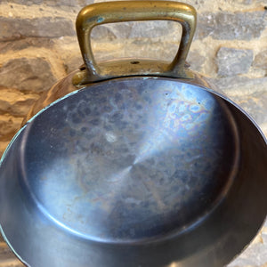 French vintage stamped double handle cassolette copper pan