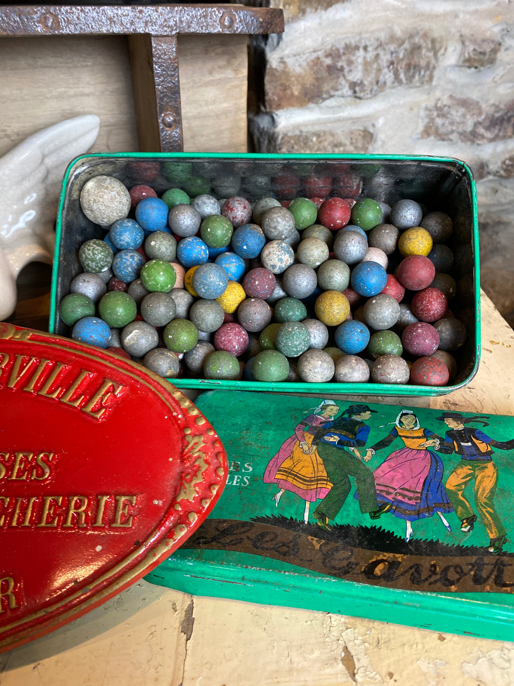 French vintage clay marbles with tin