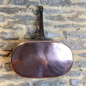 French vintage heavy gauge copper poaching pan