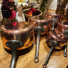 Load image into Gallery viewer, French antique copper pans set of 5 heavy gauge