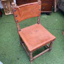 Load image into Gallery viewer, Small French leather studded chair