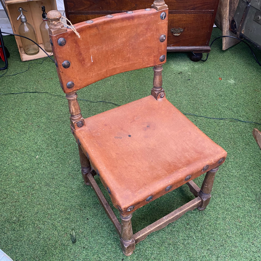 Small French leather studded chair