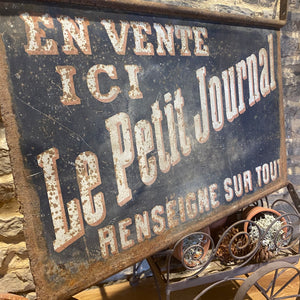 French vintage double sided metal sign