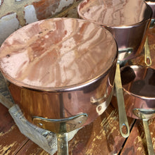 Load image into Gallery viewer, French antique copper pans set of 4 pans entry level set