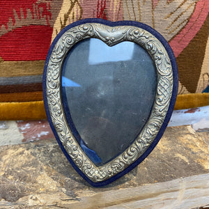 French metal and velvet vintage frame with glass