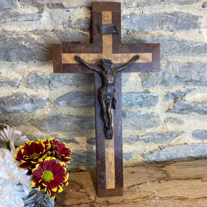 Vintage French metal Jesus on wooden crucifix