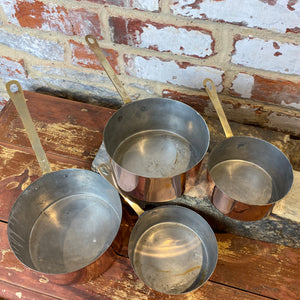French antique copper pans set of 4 pans entry level set