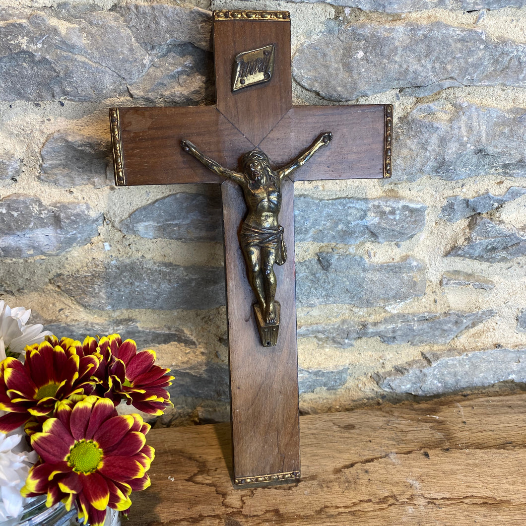 Vintage French brass Jesus on wooden crucifix