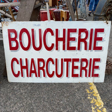 Load image into Gallery viewer, Hand painted double sided French Boucherie Charcuterie 1960' era metal sign