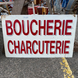 Hand painted double sided French Boucherie Charcuterie 1960' era metal sign