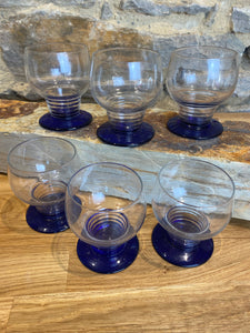 French blue base glasses set of 6