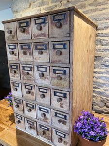 French bank of 24 deep drawers