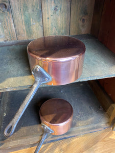 French antique copper pans set of 5 pans medium gauge set