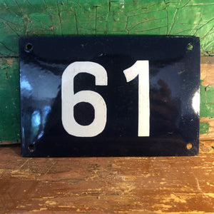 French enamel house number sign