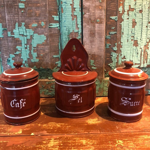 Set of 3 enamel French canisters