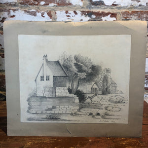 Pencil print signed and dated 1854