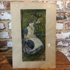 Watercolour unknown figure signed