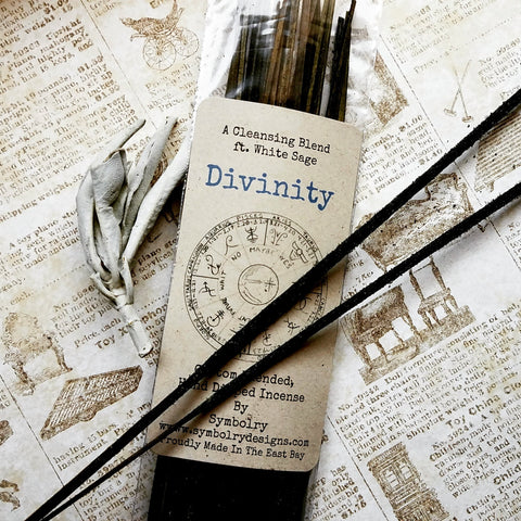 Divinity - Custom blended, hand dipped incense featuring White Sage