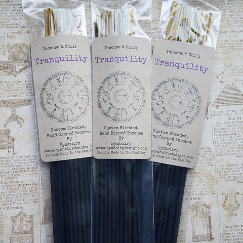 Tranquility, custom blended, hand dipped incense by Symbolry