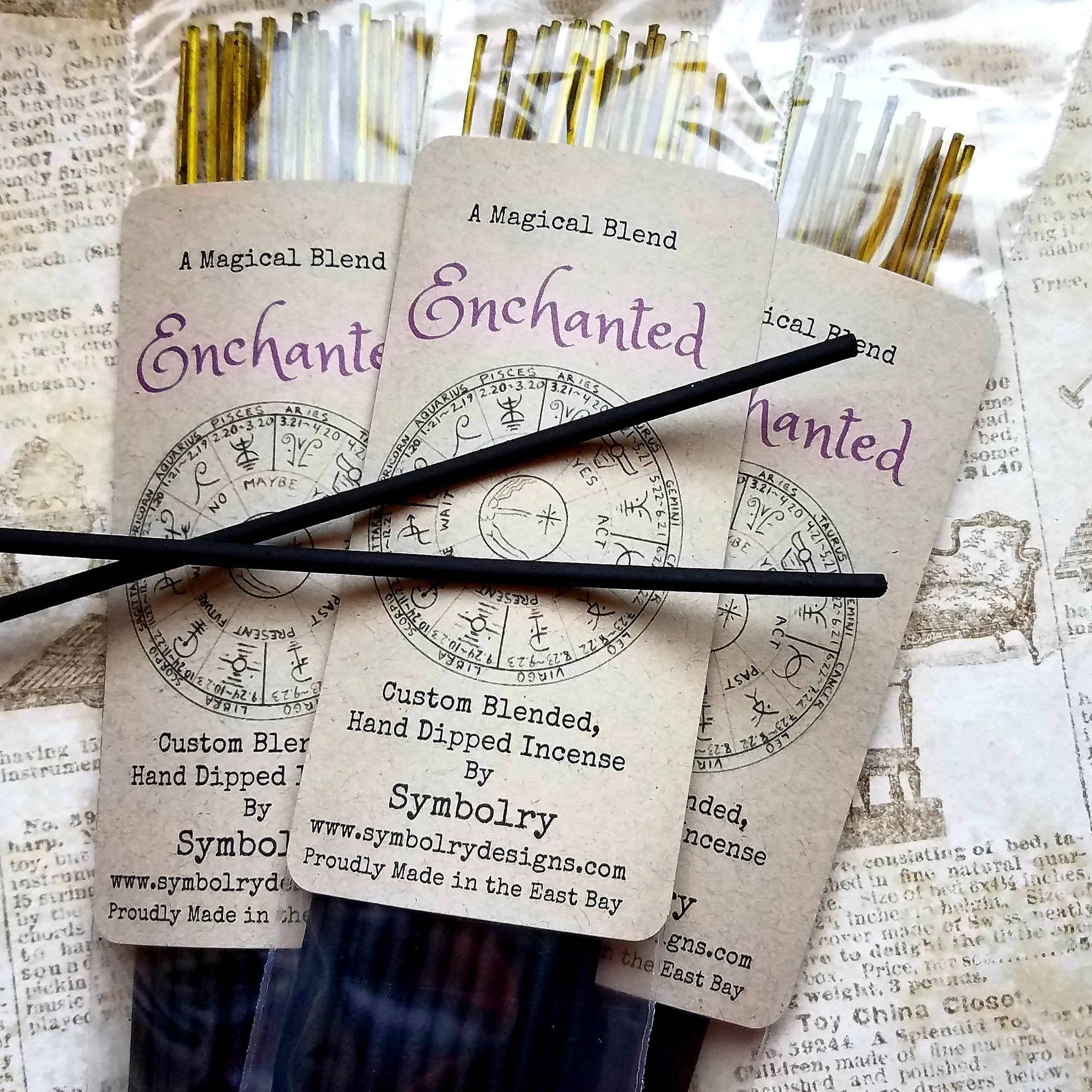 Enchanted - custom blended, hand dipped incense by Symbolry