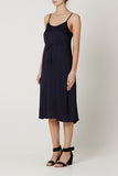 EVA SLIP DRESS Navy Satin