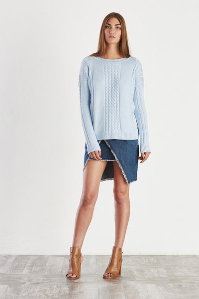 AFTER HOURS Cable Knit Sweater Pale Blue