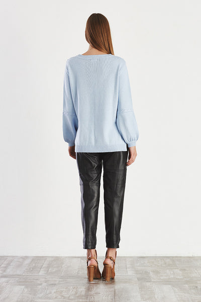 MYSTERY Cable Knit Sweater Pale Blue