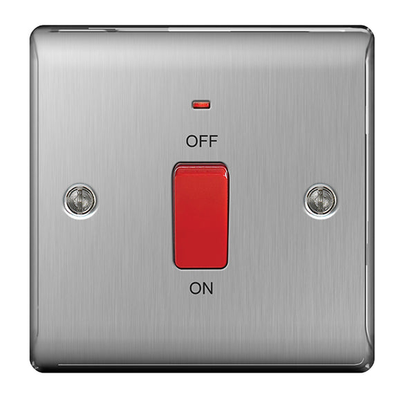NBS74 45A Double Pole Cooker Switch with Neon - Small Plate