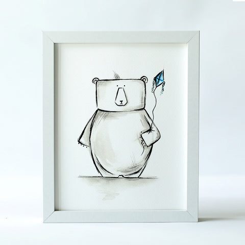 Simon - The Bear with Kite (Print)