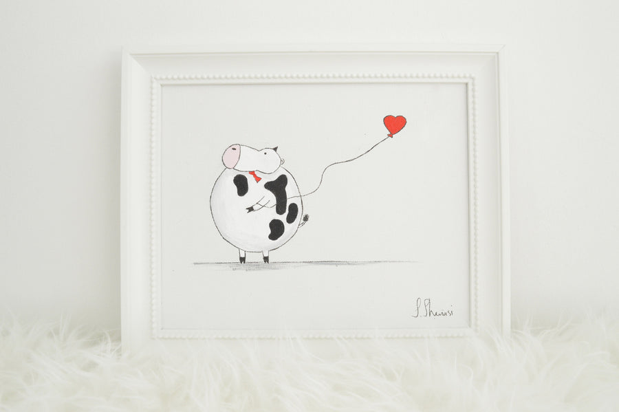 boys nursery wall art - alex the cow - front view | shenasi concept