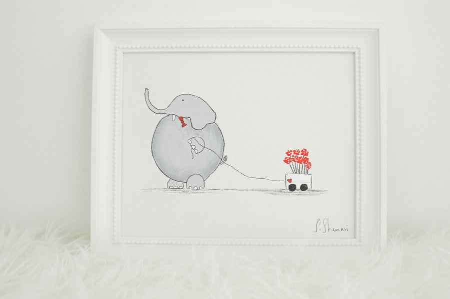 Hand Painted Nursery Art for Boy - Elephant | Shenasi Concept