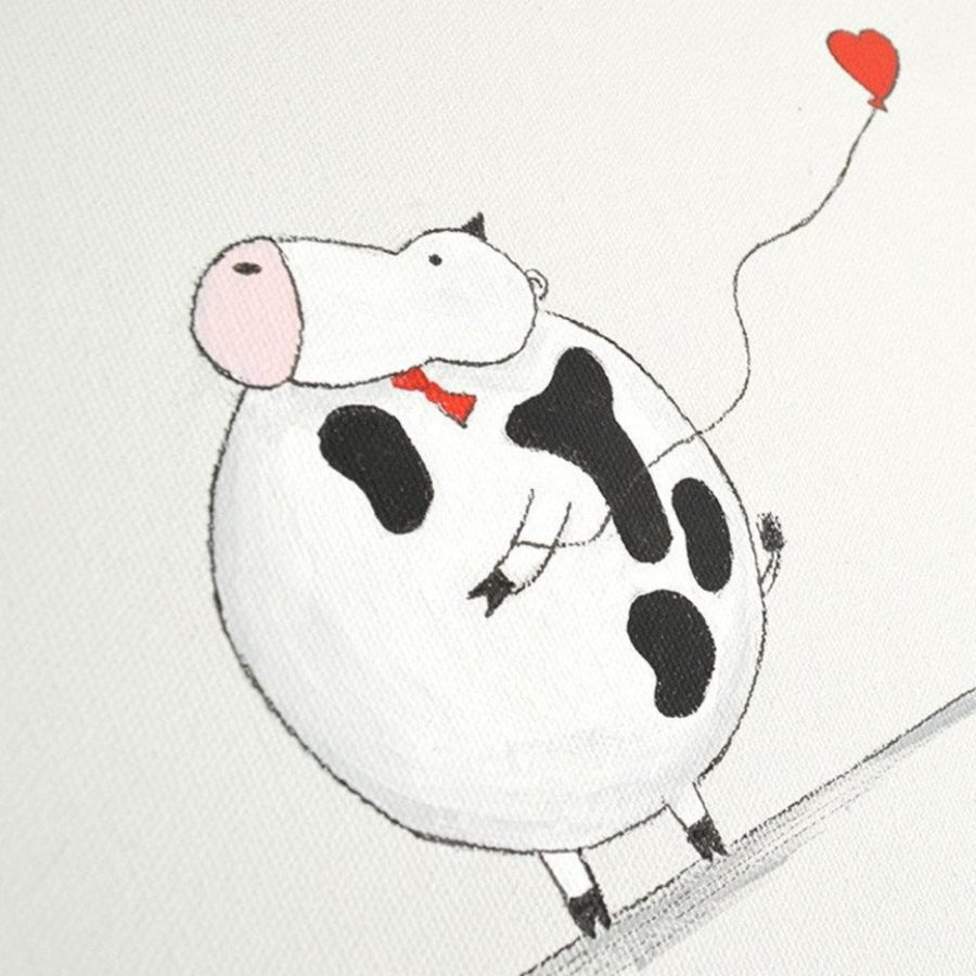 hand painted nursery art for boy - alex the cow | shenasi concept
