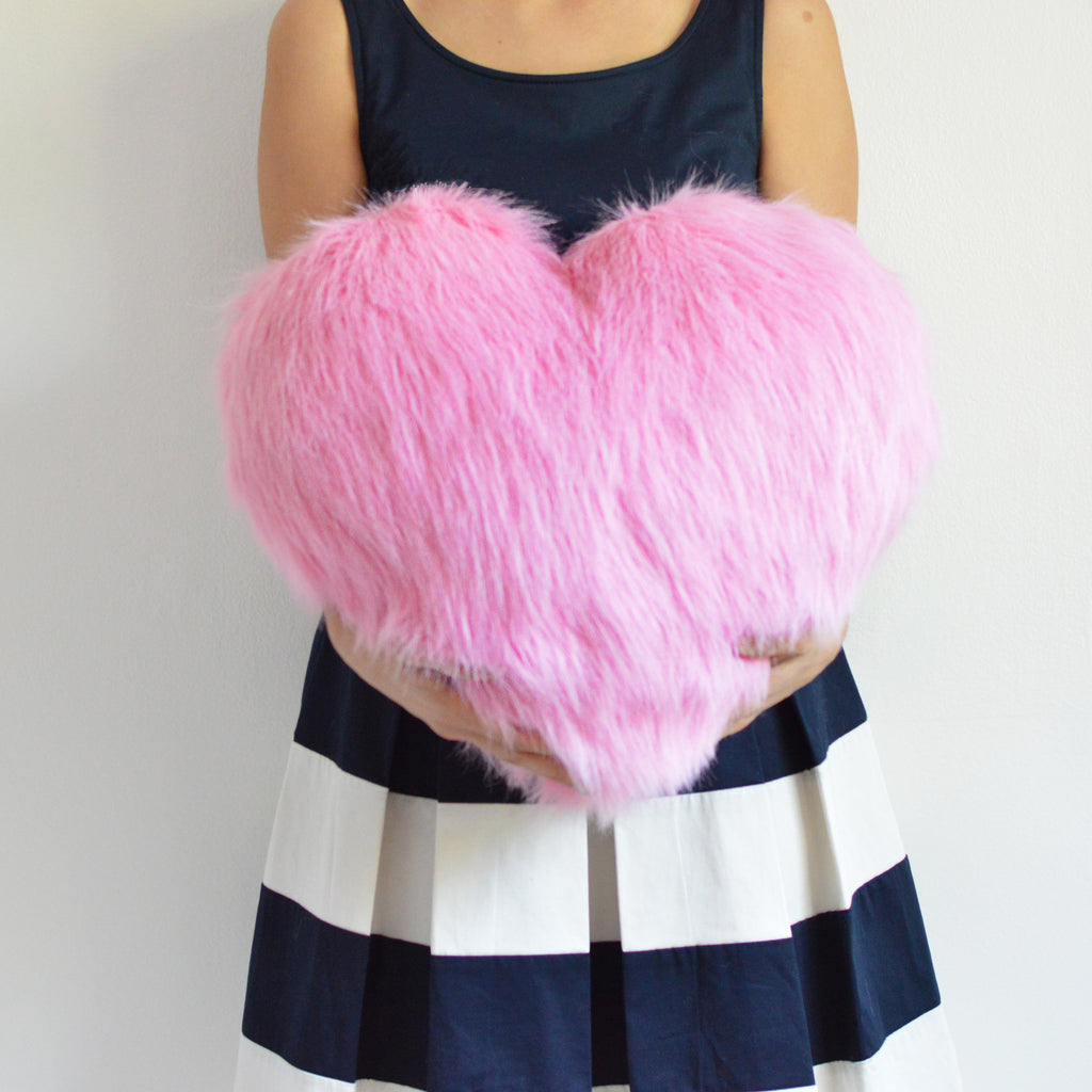Nursery Decor - Fiona | Furry Heart Pillow Pink | Shenasi Concept
