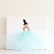 Nursery Art for Girl - Ballerina Art Blue Tutu | Shenasi Concept